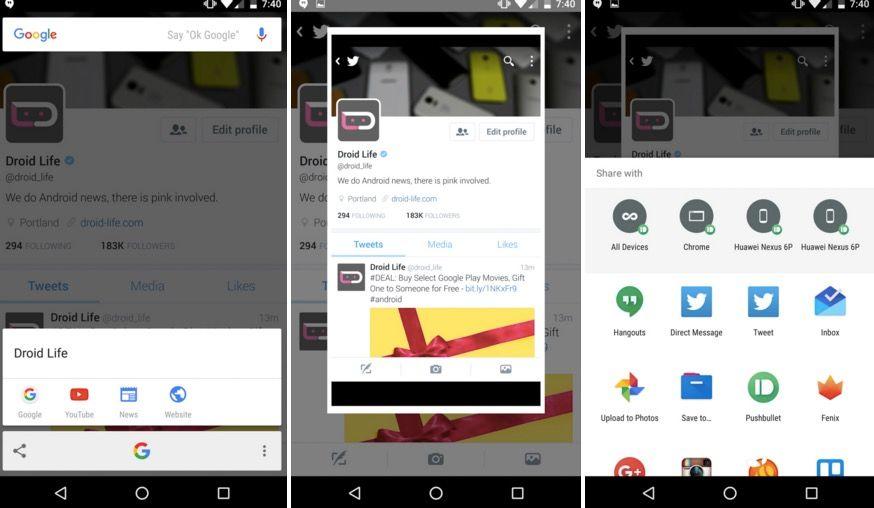 compartir captura pantalla now on tap
