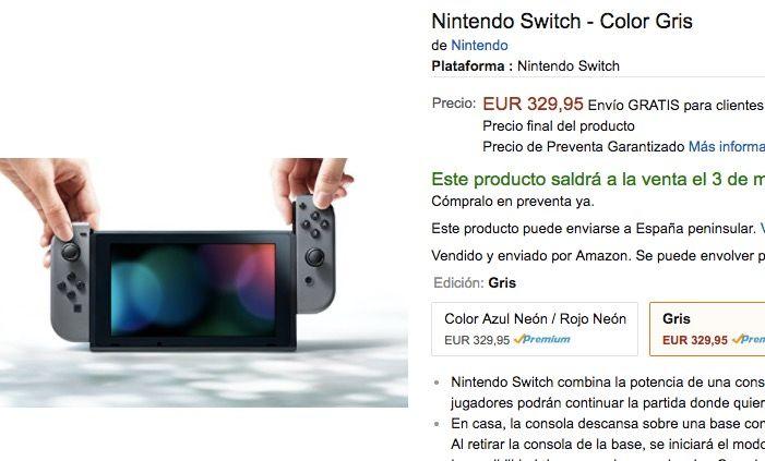 Nintendo Switch en Amazon