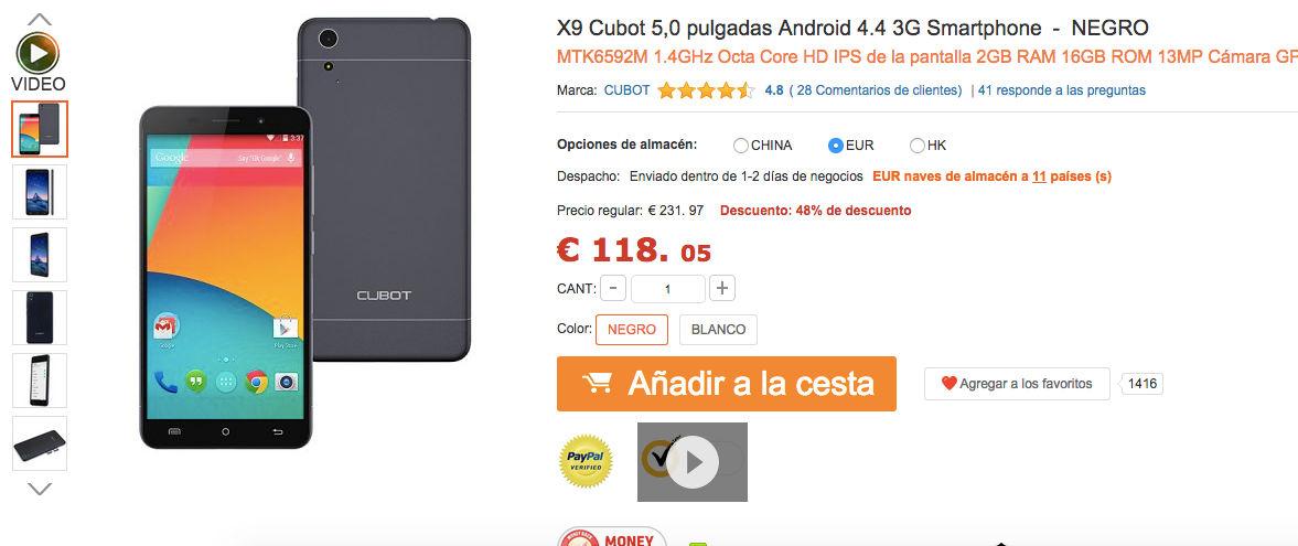 comprar-cubot-x9-muy-barato