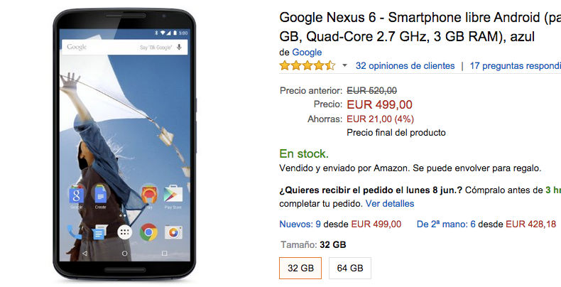 comprar-nexus-6-499-euros-amazon