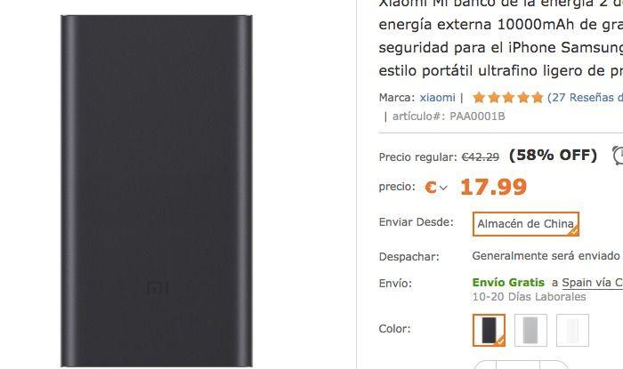comprar powerbank xiaomi 10000 mah