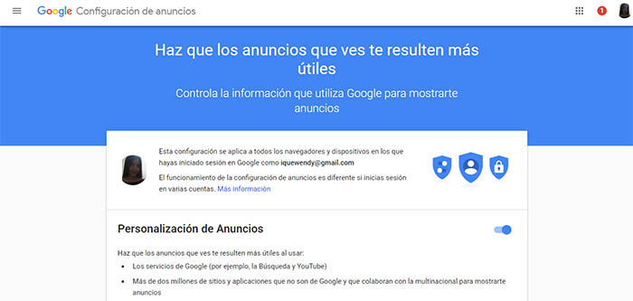 configuracion de anuncios en Google Chrome