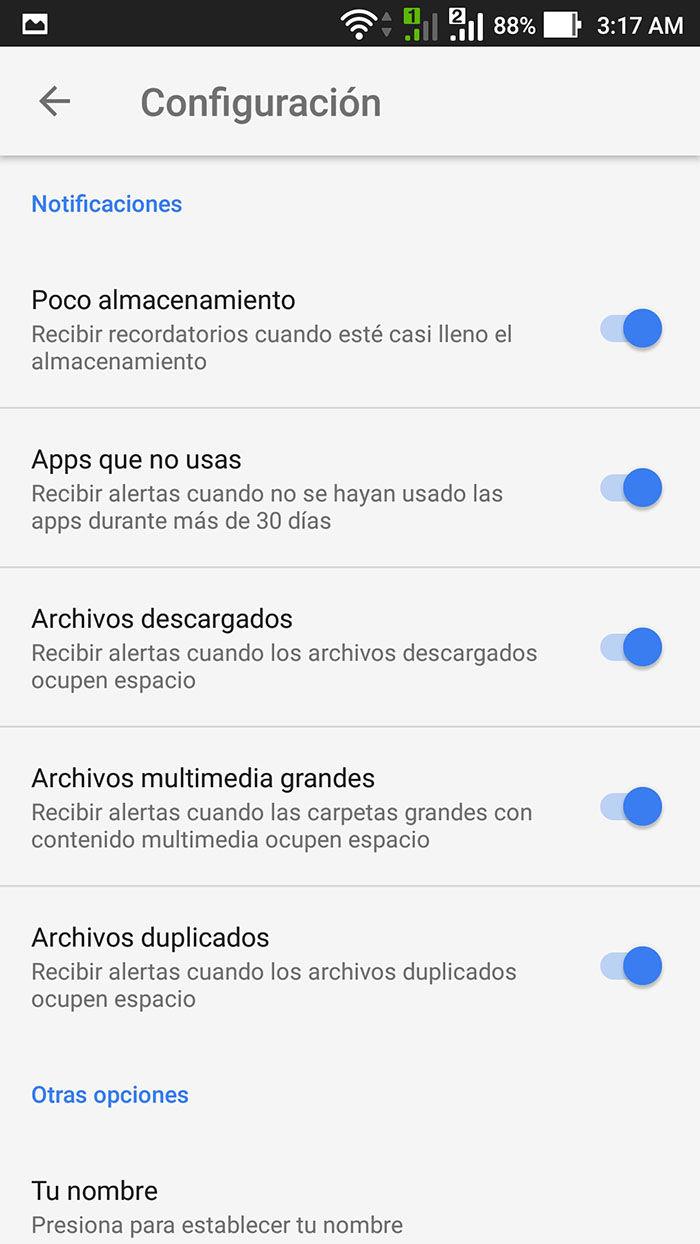 Configuraciones Google's Files Go