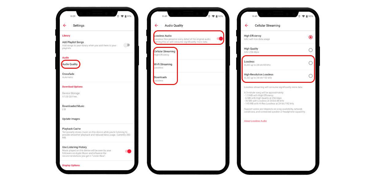 configurar audio sin pérdida apple music android
