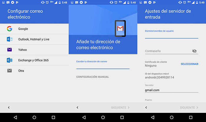 configurar correos exchange en Gmail