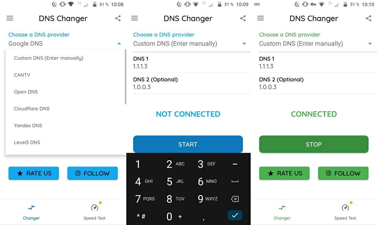 configurar dns cloudflare android con dns changer