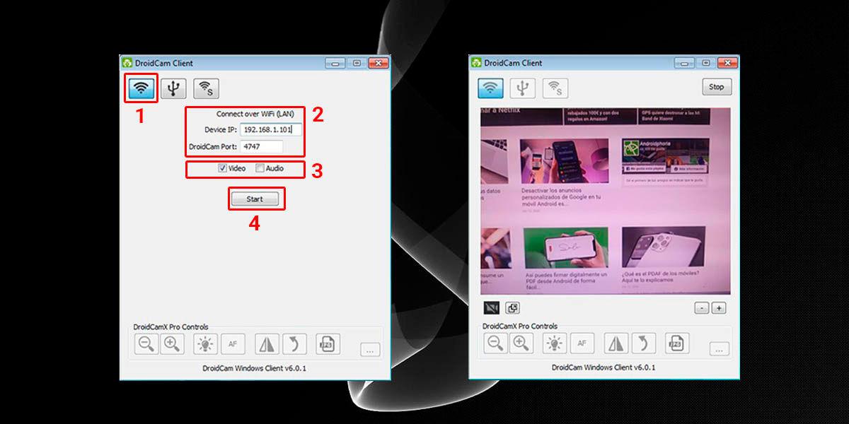 configurar droidcam client ordenador
