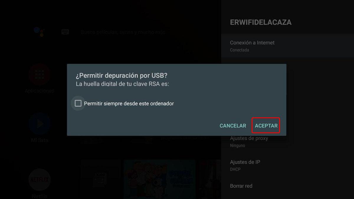 confirmar conexión adb android tv