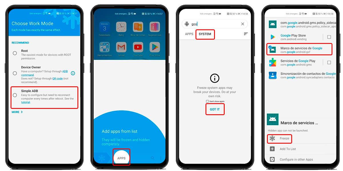 congelar marco aplicaciones google huawei