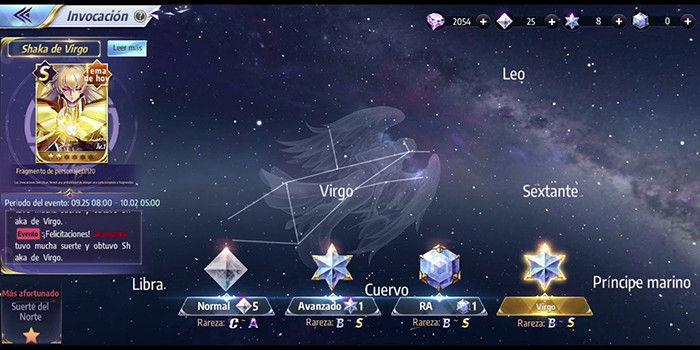 constelacion virgo saint seiya awakening