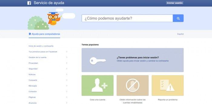 contactar soporte de facebook