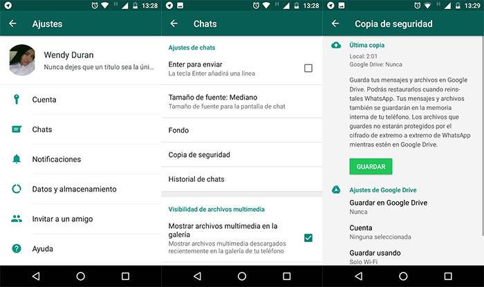 copias de seguridad en WhatsApp