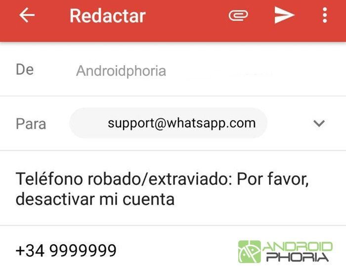 correo desactivar whatsapp