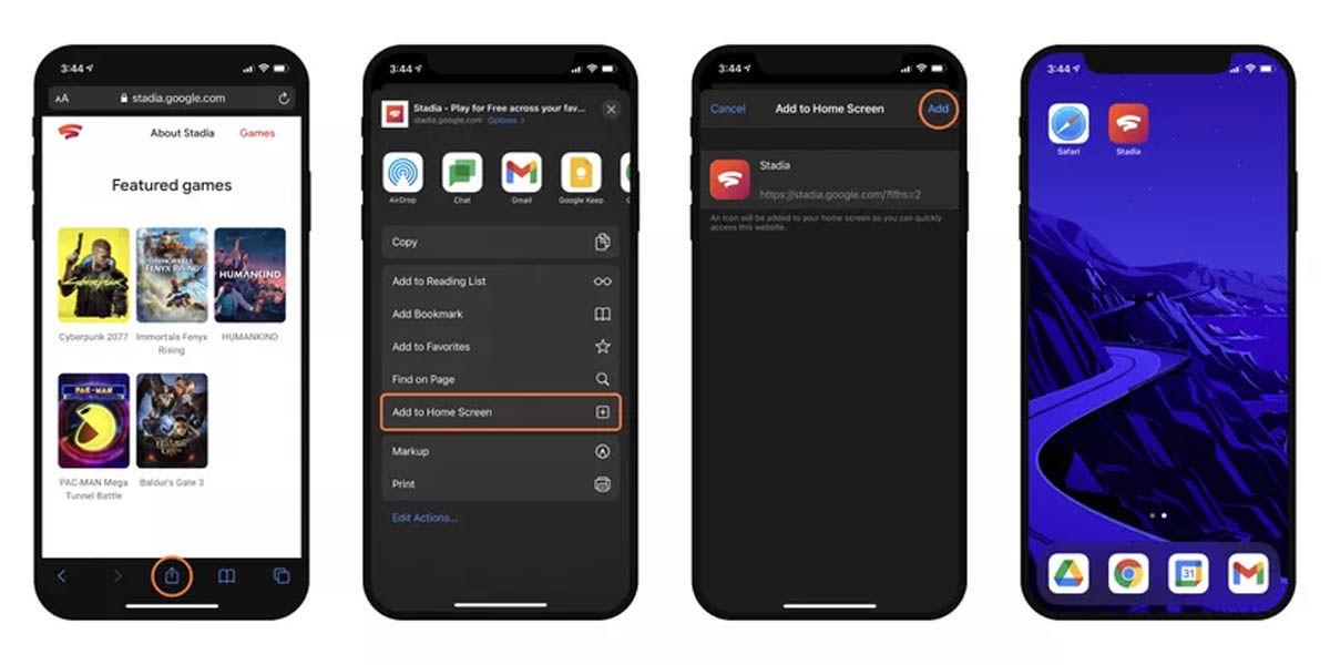 crear acceso directo google stadia iOS