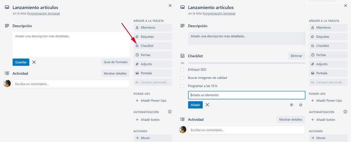 Crear checklist en Trello con Excel en PC