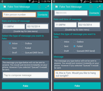 crear mensajes falsos android
