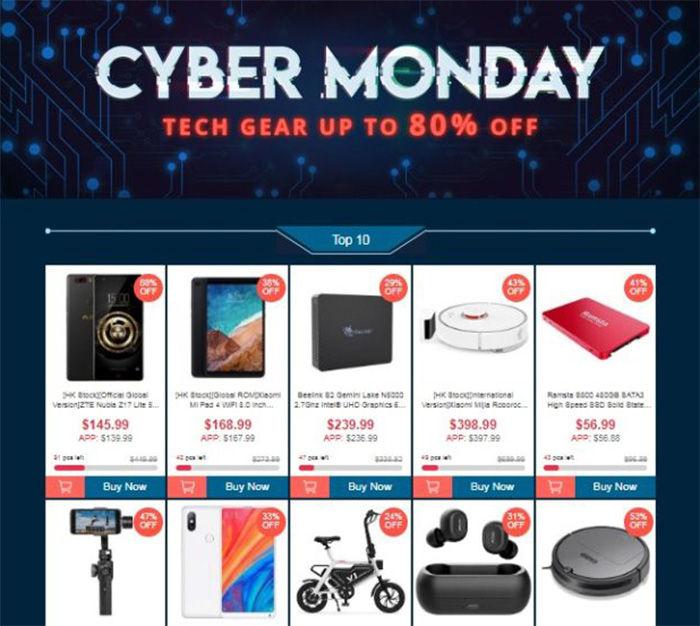 cybermonday ofertas geekbuying