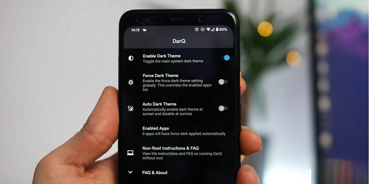 darq aplicacion para forzar modo oscuro en android 10