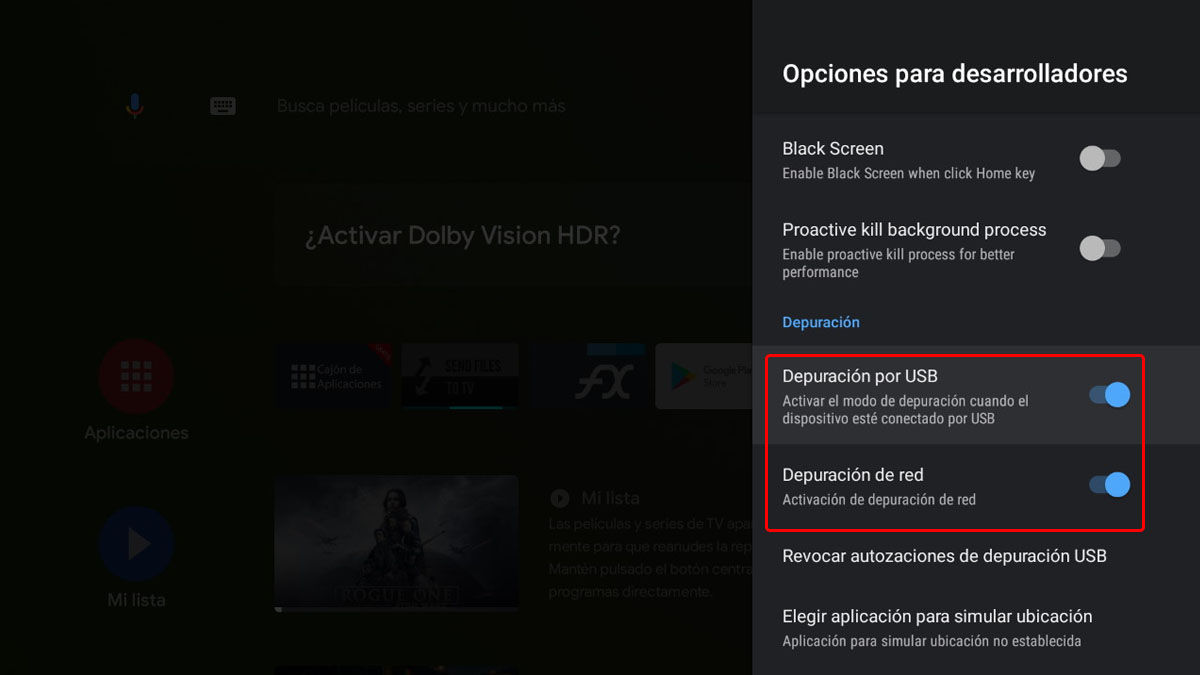 depuración usb y red android tv