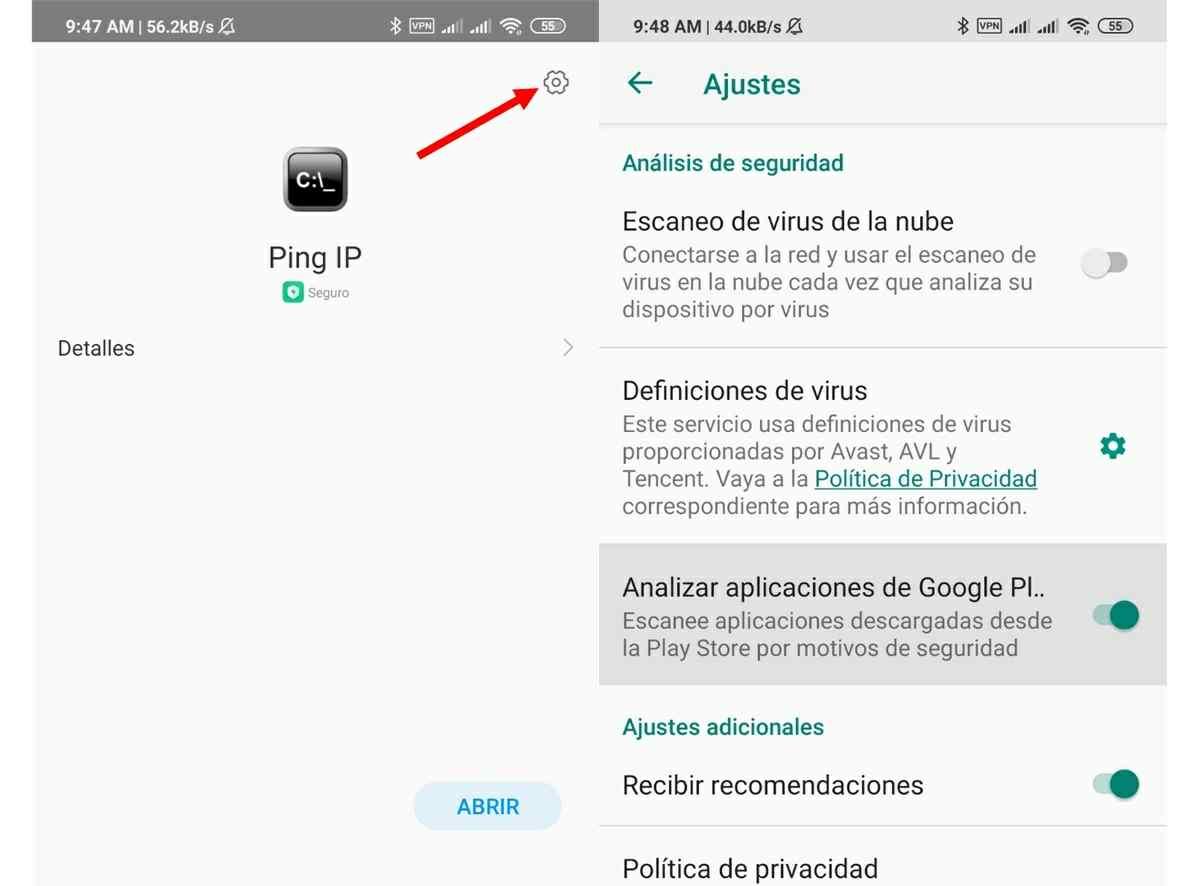 desactivar analisis de seguridad apps de Google Play Store en miui xiaomi
