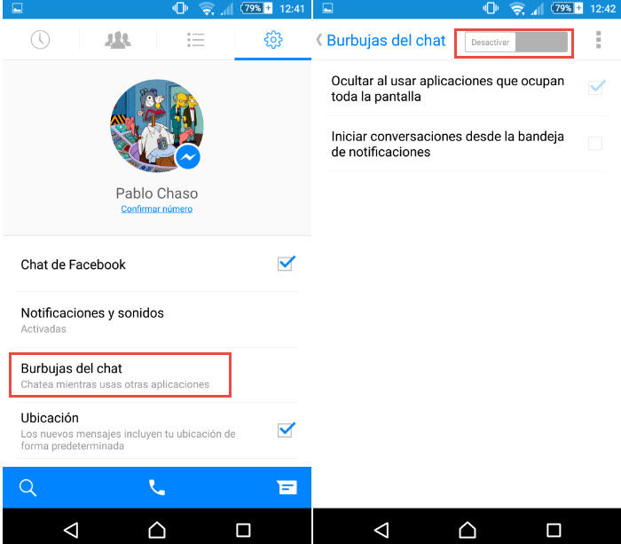 desactivar burbujas chat facebook messenger2