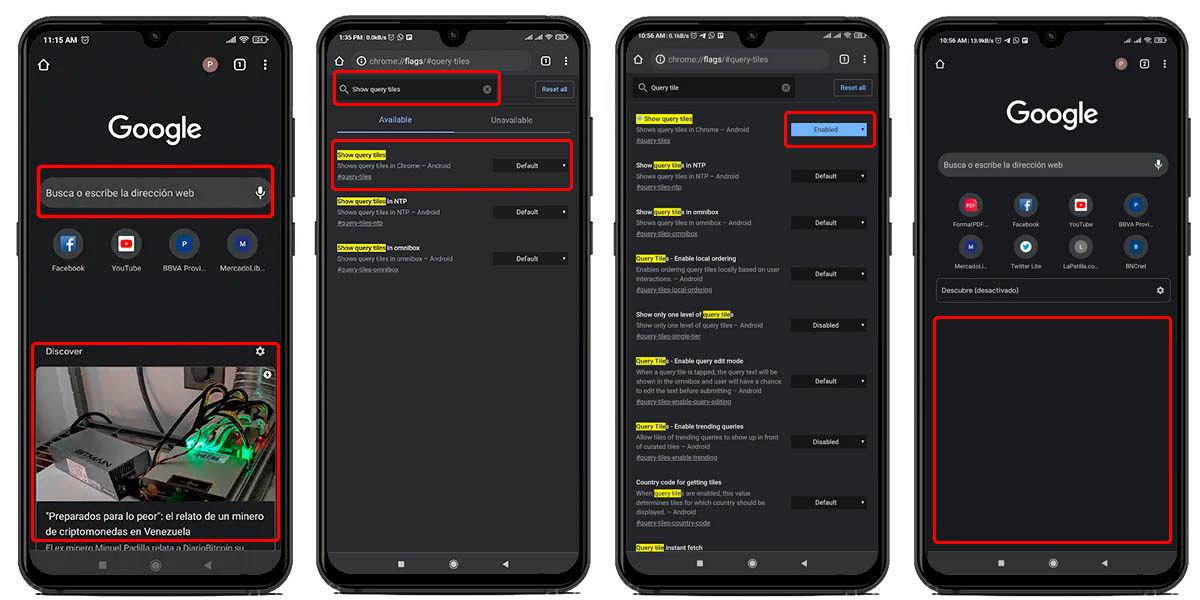 desactivar contenido recomendado google chrome