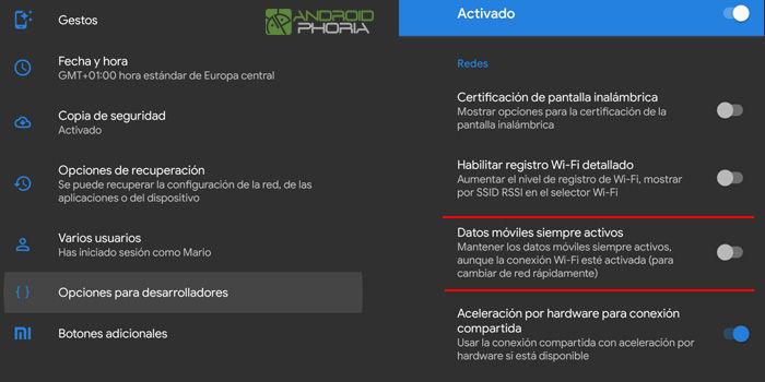 desactivar datos móviles segundo plano android