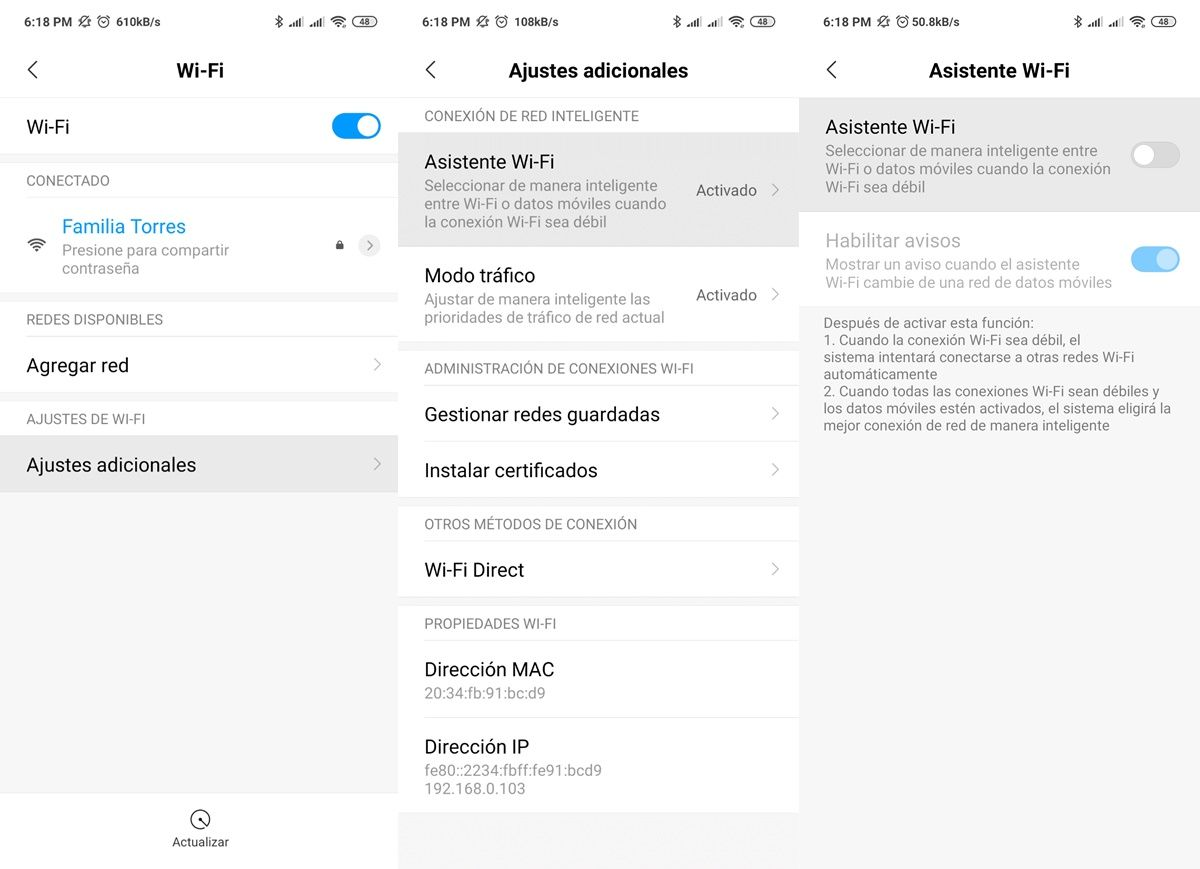 desactivar gestion inteligente wifi redmi note 7