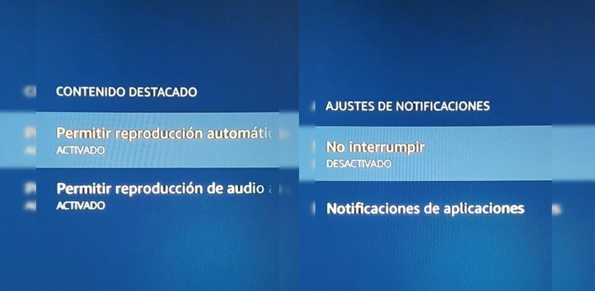 desactivar reproduccion automatica y notificaciones amazon fire tv