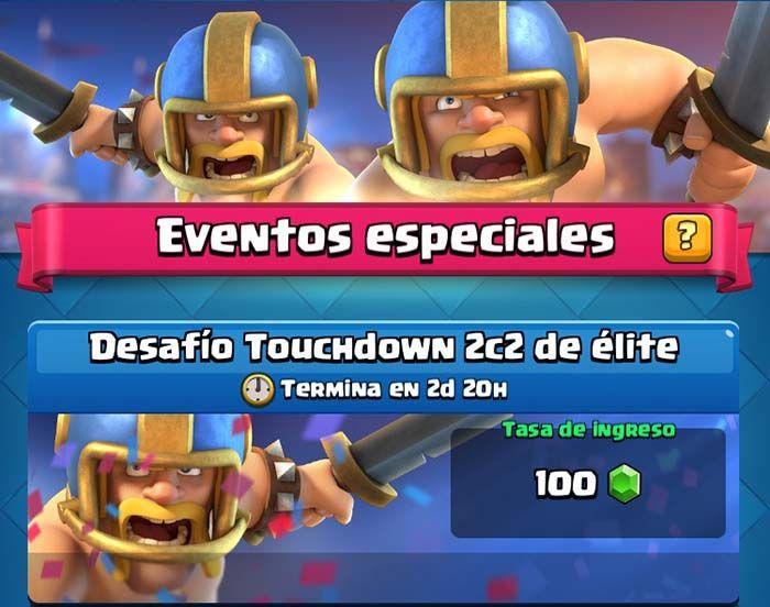 Desafío Touchdown 2c2 de élite Clash Royale