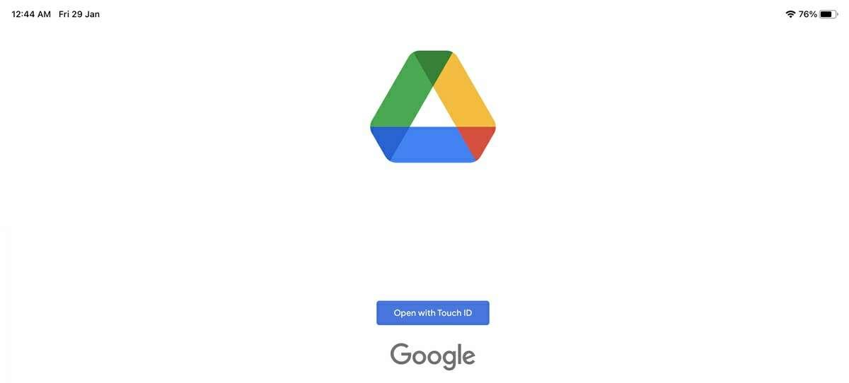 desbloquear google drive con touch id de ios