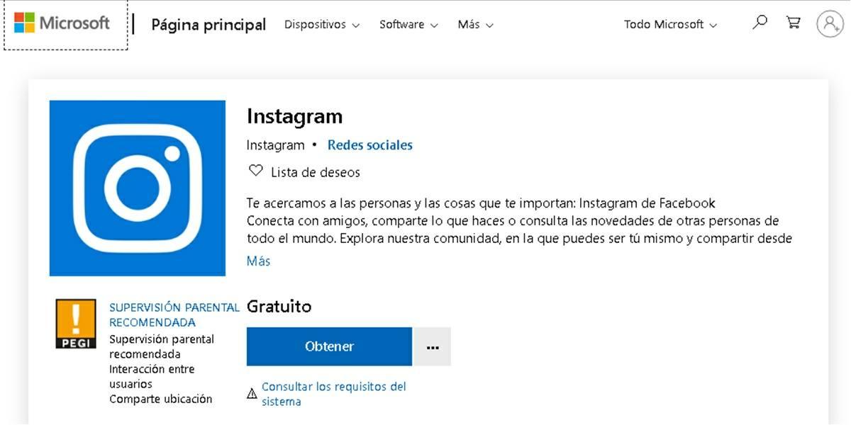 descargar instagram pc windows