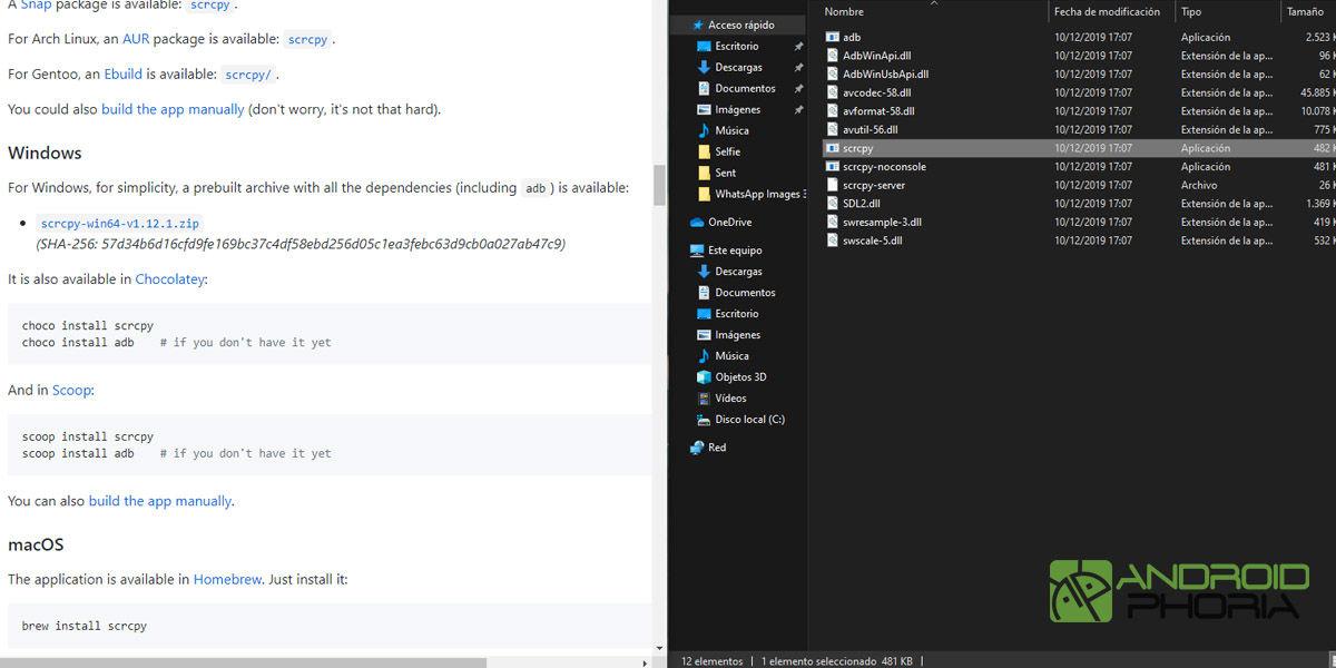 descargar scrpy ver pantalla android windows