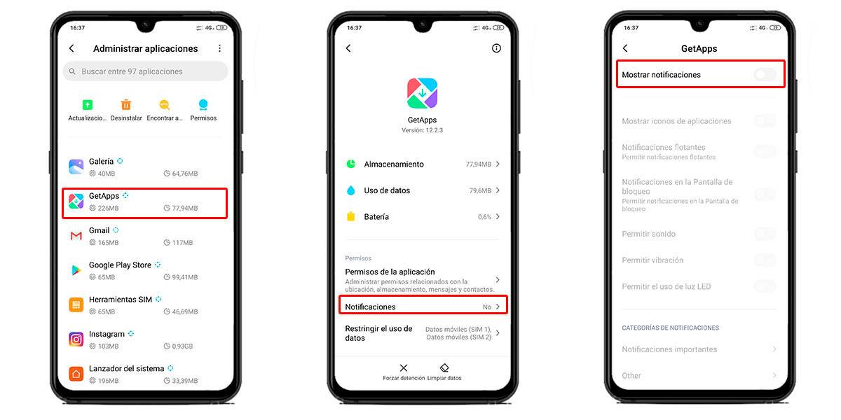 deshabilitar notificaciones getapps en MIUI