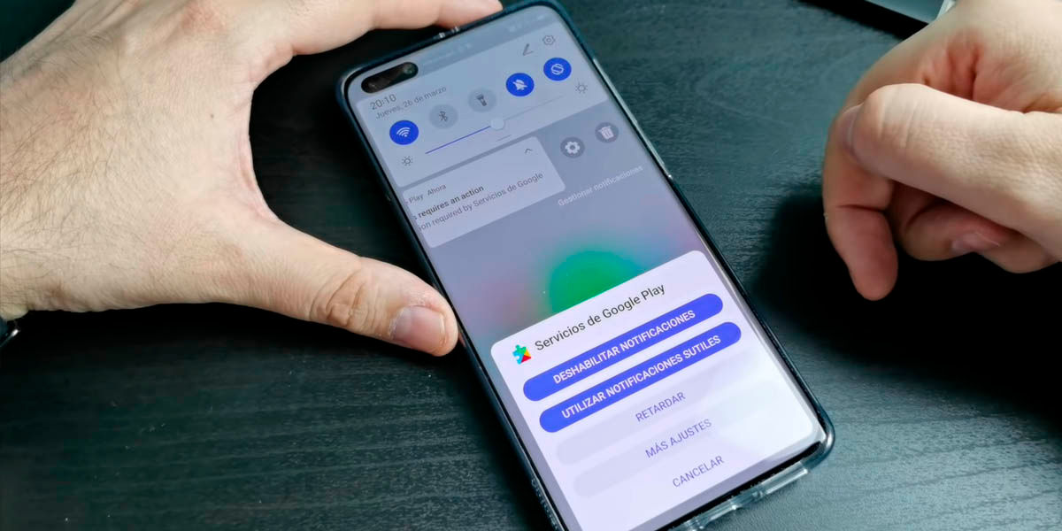 deshabilitar notificaciones google play services huawei p40