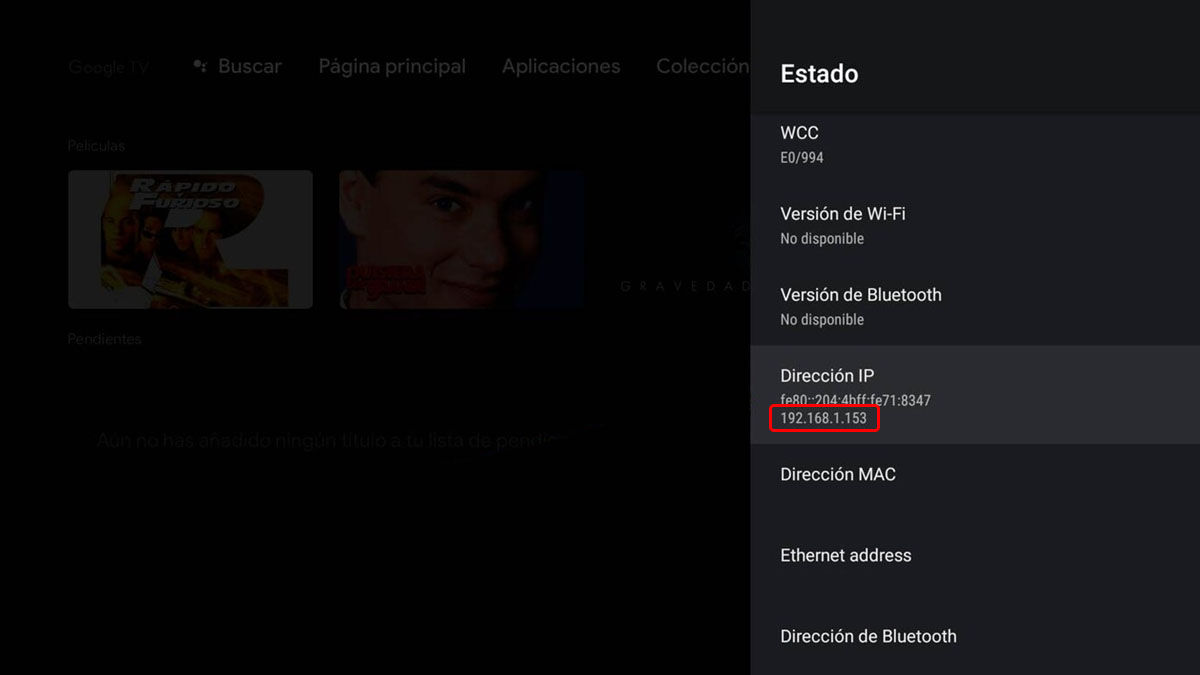 dirección ip android tv