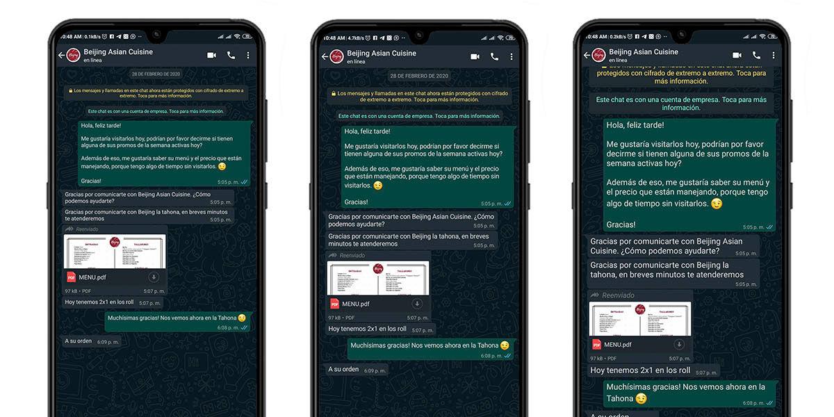 distintos tamaños de letras en WhatsApp