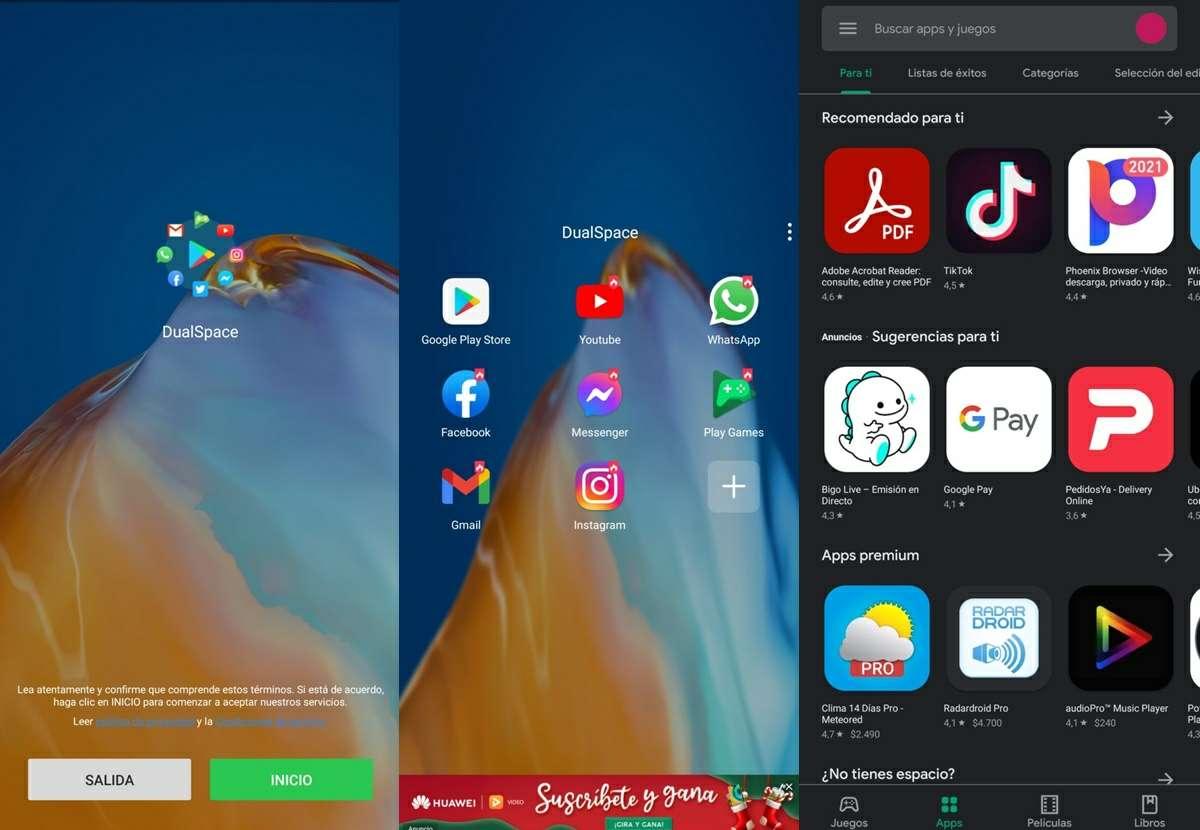 dual space app para instalar google play en huawei