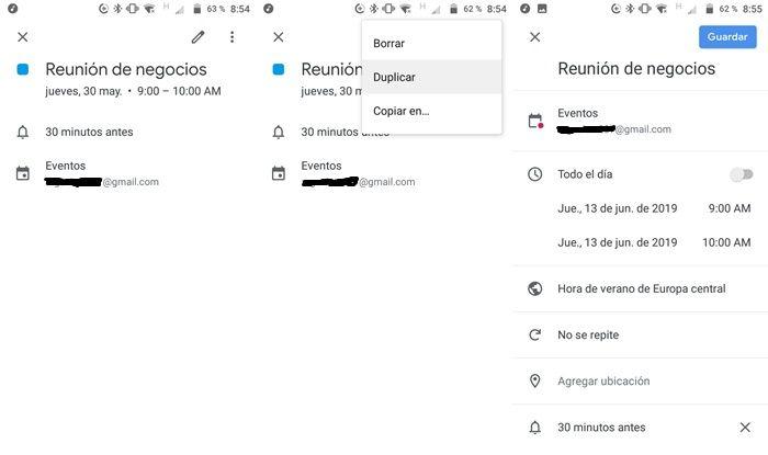 duplicar eventos en el calendario de google