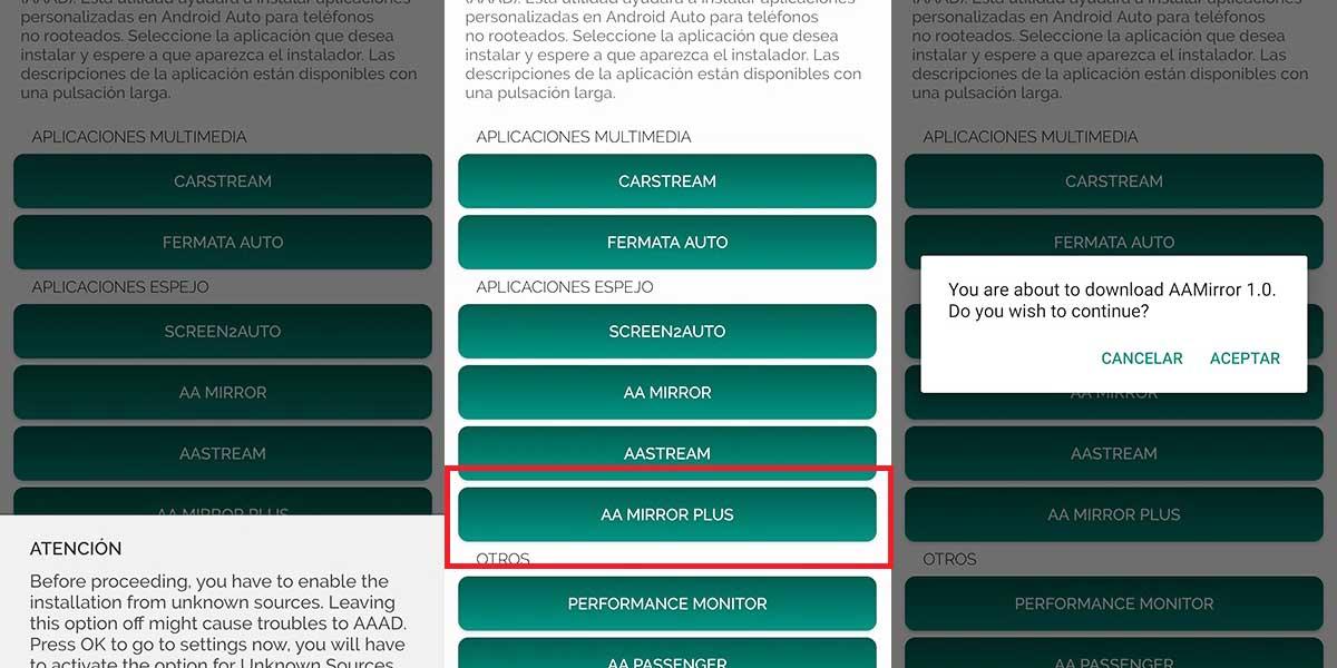 duplicar pantalla Android Auto AA Mirror Plus cuadro instalar
