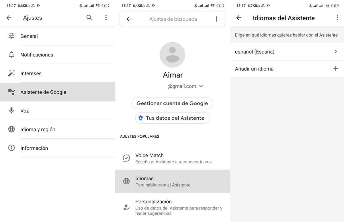 elegir idioma espanol en asistente de google