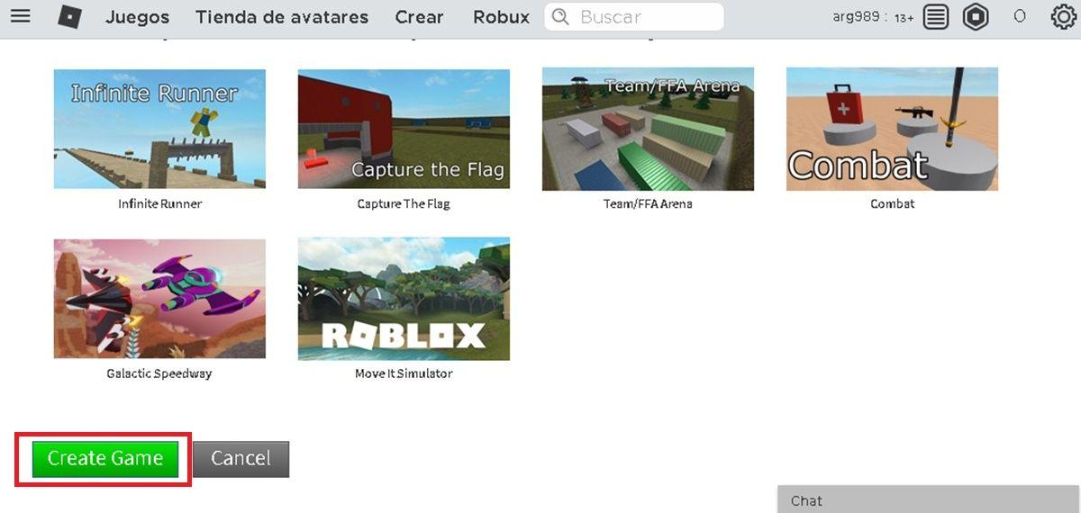elegir plantilla y crear juego roblox