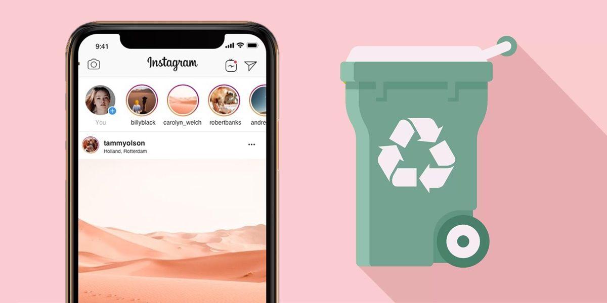 eliminado recientemente carpeta de reciclaje de instagram