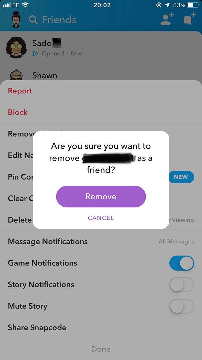 eliminar amigos en snapchat