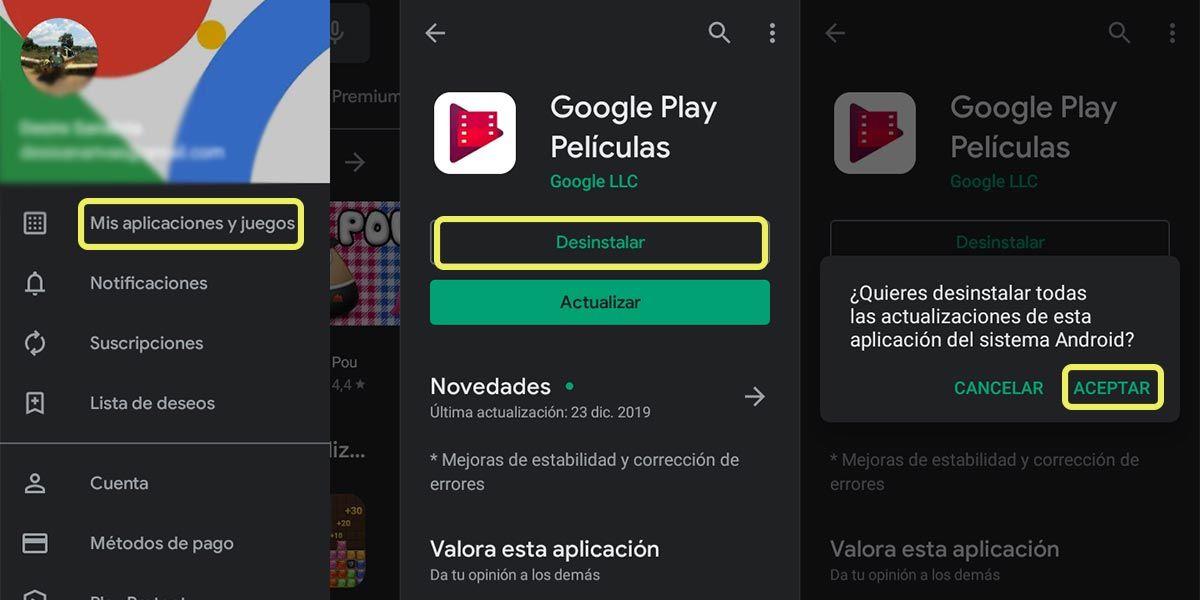 eliminar aplicaciones desde play store