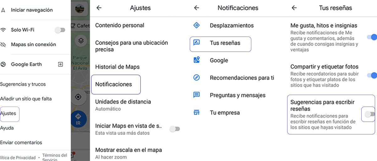 eliminar avisos de google maps desde la app