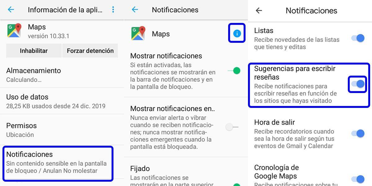 eliminar avisos de google maps desde los ajustes