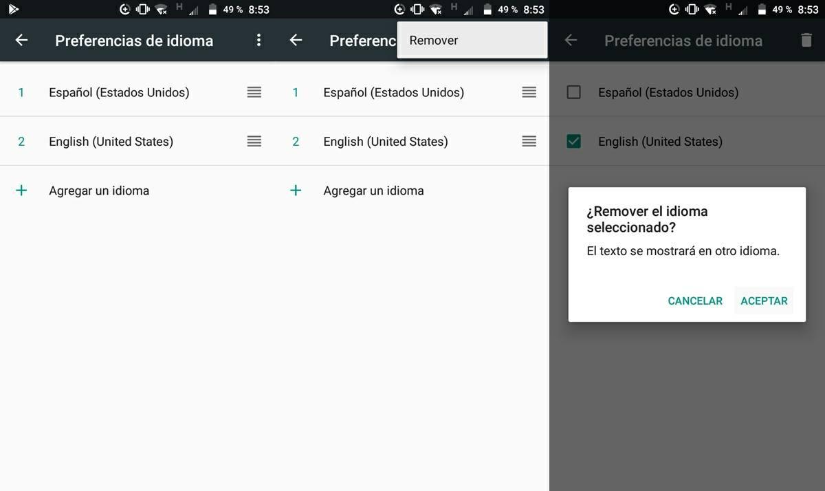 eliminar ingles como idioma secundario en android