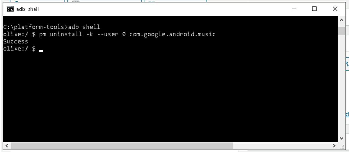 eliminar la app Google play music en android con adb