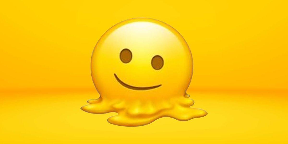 emoji de cara sonriente derritiendose